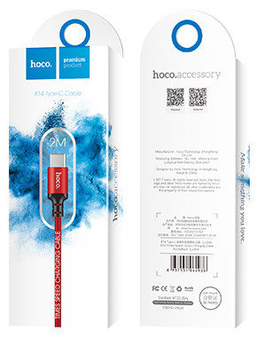 Hoco X14-C2R Charge&Synch - USB-C oplaadkabel zwart 2 meter