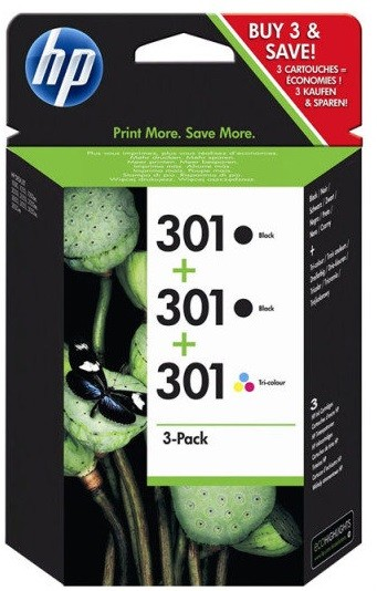 HP 3-pack 301 BK & BK & kleuren (origineel)