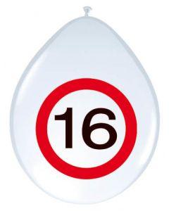 16 Jaar Verkeersbord Ballonnen - 8 stuks
