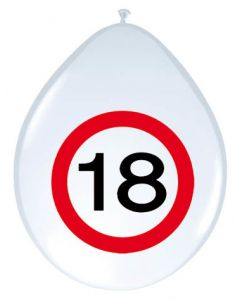18 Jaar Verkeersbord Ballonnen - 8 stuks