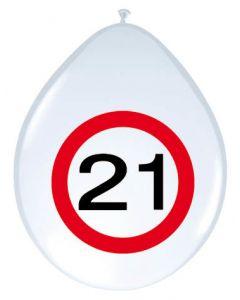 21 Jaar Verkeersbord Ballonnen - 8 stuks