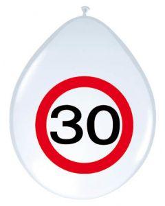 30 Jaar Verkeersbord Ballonnen - 8 stuks