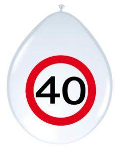 40 Jaar Verkeersbord Ballonnen - 8 stuks