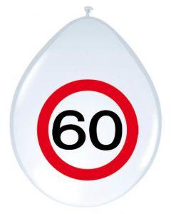 60 Jaar Verkeersbord Ballonnen - 8 stuks