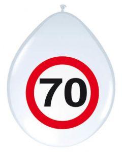 70 Jaar Verkeersbord Ballonnen - 8 stuks