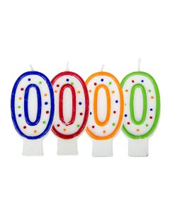 Verjaardagskaars cijfer 0 - wit met gekleurde stippen