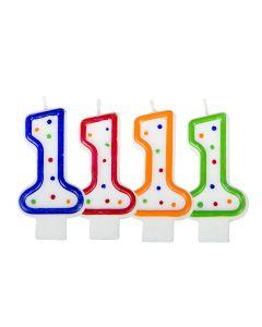 Verjaardagskaars cijfer 1 - wit met gekleurde stippen