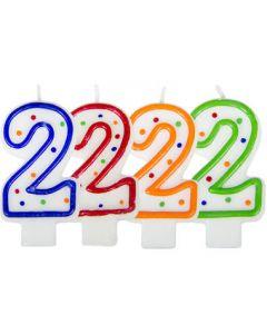 Verjaardagskaars cijfer 2 - wit met gekleurde stippen