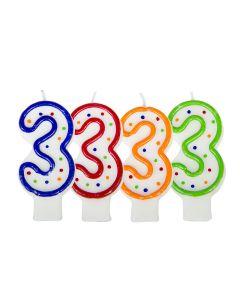 Verjaardagskaars cijfer 3 - wit met gekleurde stippen