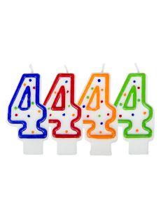 Verjaardagskaars cijfer 4 - wit met gekleurde stippen