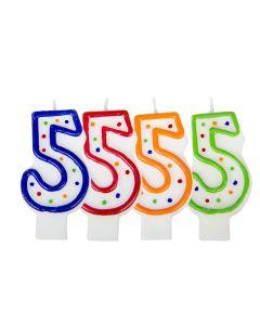 Verjaardagskaars cijfer 5 - wit met gekleurde stippen