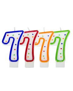 Verjaardagskaars cijfer 7 - wit met gekleurde stippen