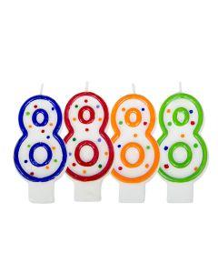 Verjaardagskaars cijfer 8 - wit met gekleurde stippen