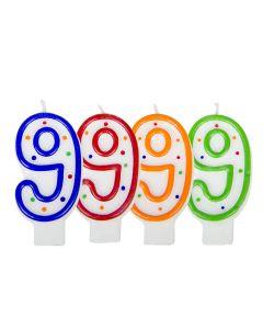 Verjaardagskaars cijfer 9 - wit met gekleurde stippen