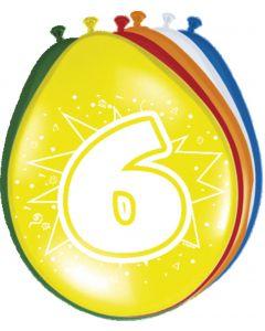 6 Jaar Verjaardagsballonnen - 8 stuks