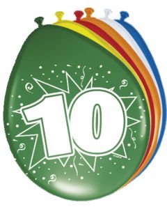 10 Jaar Ballonnen - 8 stuks