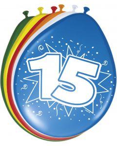 15 Jaar Ballonnen 30cm 8 stuks
