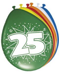 25 Jaar Ballonnen 30cm 8 stuks