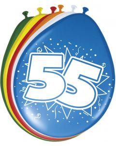 55 Jaar Ballonnen 30cm 8 stuks