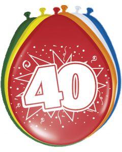 40 Jaar Ballonnen Meerkleurig - 8 stuks