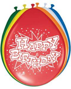 Happy birthday ballonnen 30cm - 8 stuks