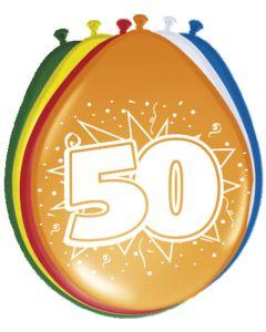 50 Jaar Ballonnen Meerkleurig - 8 stuks
