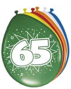 65 Jaar Ballonnen Meerkleurig - 8 stuks