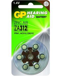GP Hearing aid battery ZA312, blister 6