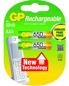 GP NiMH oplaadbare AAA Micro penlite (650mAh), blister 2