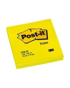 3M Post-it 654 memoblok 76x76mm, neon geel, pak à 6 stuks