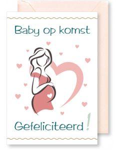 6 Wenskaarten met envelop - Geboorte zwanger (12x17.5 cm)
