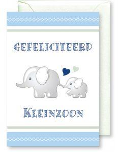 6 Wenskaarten met envelop - Geboorte kleinzoon (12x17.5 cm)