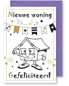 6 Wenskaarten met envelop - Nieuwe woning (12x17.5 cm)