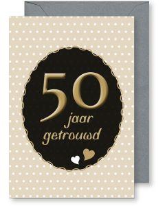6 Wenskaarten met envelop - 50 jaar huwelijk (12x17.5 cm)