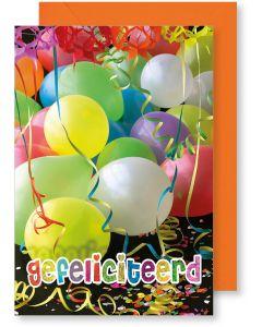 6 Wenskaarten met envelop - Gefeliciteerd ballonnen (12x17.5 cm)