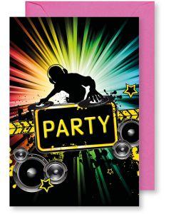 6 Wenskaarten met envelop - Gefeliciteerd party DJ (12x17.5 cm)