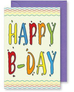 6 Wenskaarten met envelop - Happy B-day multicolor (12x17.5 cm)