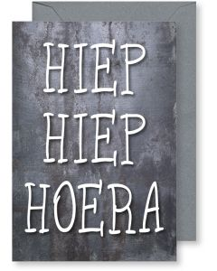 6 Wenskaarten met envelop - Hiep Hiep Hoera (12x17.5 cm)