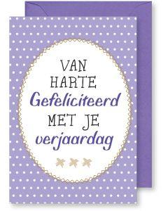 6 Wenskaarten met envelop - Van harte gefeliciteerd paarse dots (12x17.5 cm)