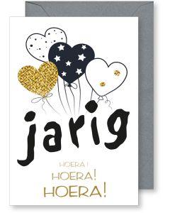 6 Wenskaarten met envelop - Gefeliciteerd jarig ballonnen hoera (12x17.5 cm)