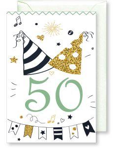 6 Wenskaarten met envelop - Gefeliciteerd 50 jaar (12x17.5 cm)