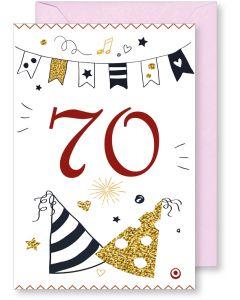 6 Wenskaarten met envelop - Gefeliciteerd 70 jaar (12x17.5 cm)