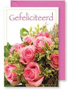 6 Wenskaarten met envelop - Gefeliciteerd bloemen (12x17.5 cm)