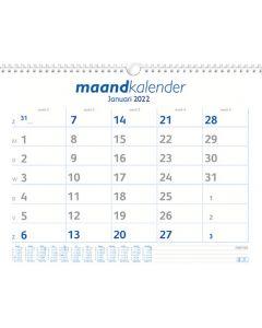 Maand kalender 2022 (week begint op Zondag)