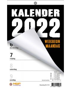 Weekblok 2022 met boorgat (week begint op Maandag)