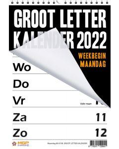 Grootletter kalender 2022 (week begint op Maandag)