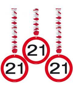 21 Jaar Verkeersbord Hangdecoratie - 3 stuks