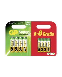 GP Super Alkaline Multipack 8xAA + 8xAAA