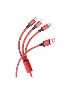 Hoco 3-in-1 Charge&Synch Cable Lightning+Micro+USB-C Red